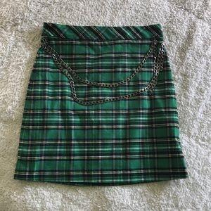 Zara Plaid Mini Skirt w/ Chains